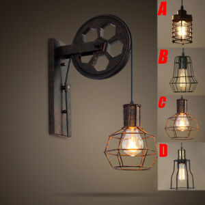 Vintage Edison Industrial Wall Mount Light Sconce Cage Lamp Lift Pulley Fixture Ebay