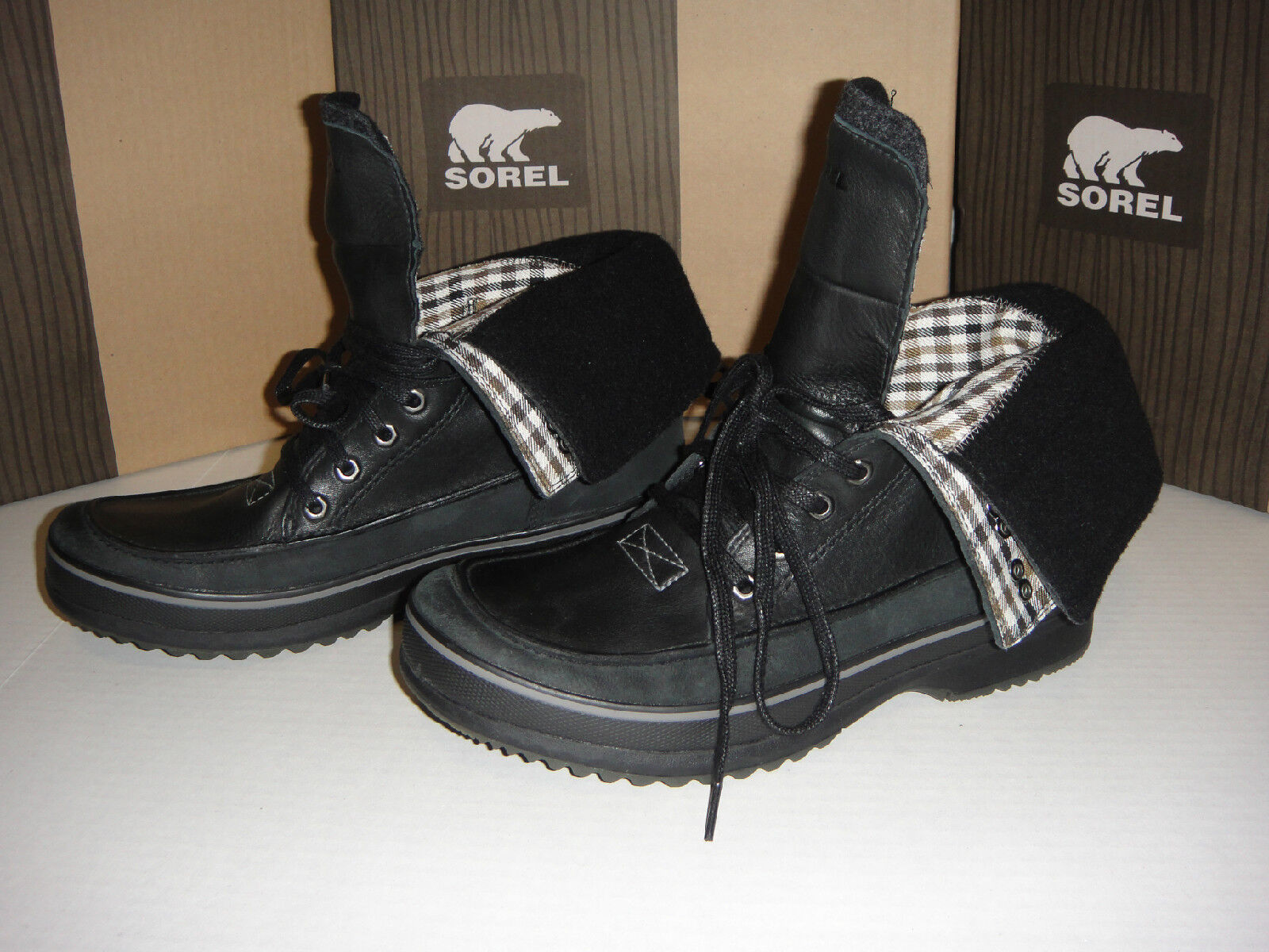 NEW SOREL KINGSTONE PEAK  Boot Leather/Nubuck Black/DarkNavy size 11 D