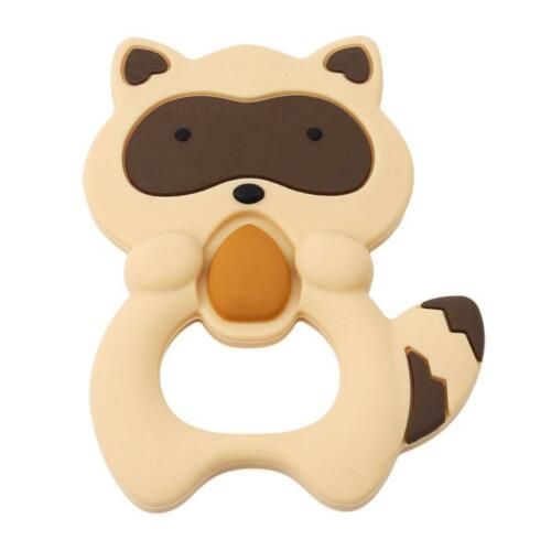 Cartoon Infant Teethers Raccoon Baby Ring Teething BPA Free Silicone Chewing LC