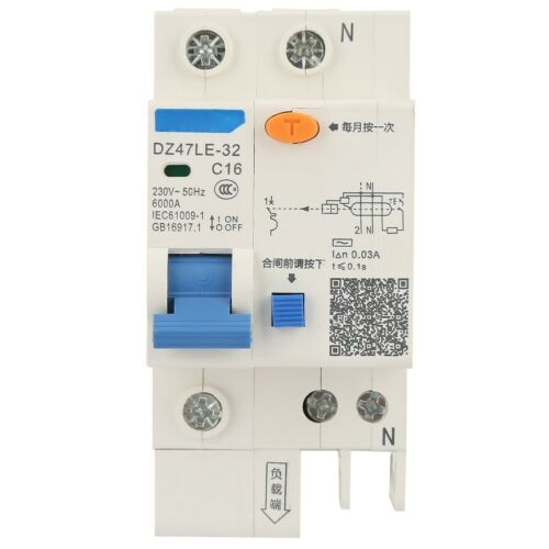 DZ47LE-32 1P+N 16A 20A 230V Earth Leakage Safety Protection Circuit Breaker 50Hz