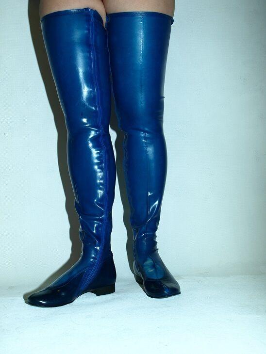 LATEX LATEX LATEX RUBBER FETISH Stiefel Größe 4-12- HEELS 0 - PRODUCER- POLAND-Farbe Blau 7531a1