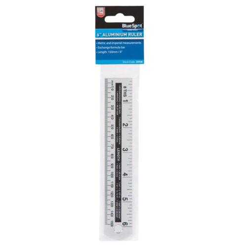 6 Inch Ruler Aluminium Measuring 150mm Rule Metric /& Imperial Bluespot 33930