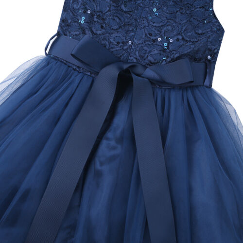 Vestido de Princesa Niña Traje de Ceremonia de Boda Fiesta Bautizo Flores Encaje