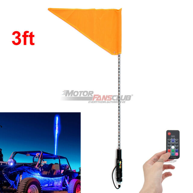 Ols 3ft Lighted Antenna Led Whip Light W Flag For Atv Polaris Rzr 4 Wheeler For Sale Online Ebay