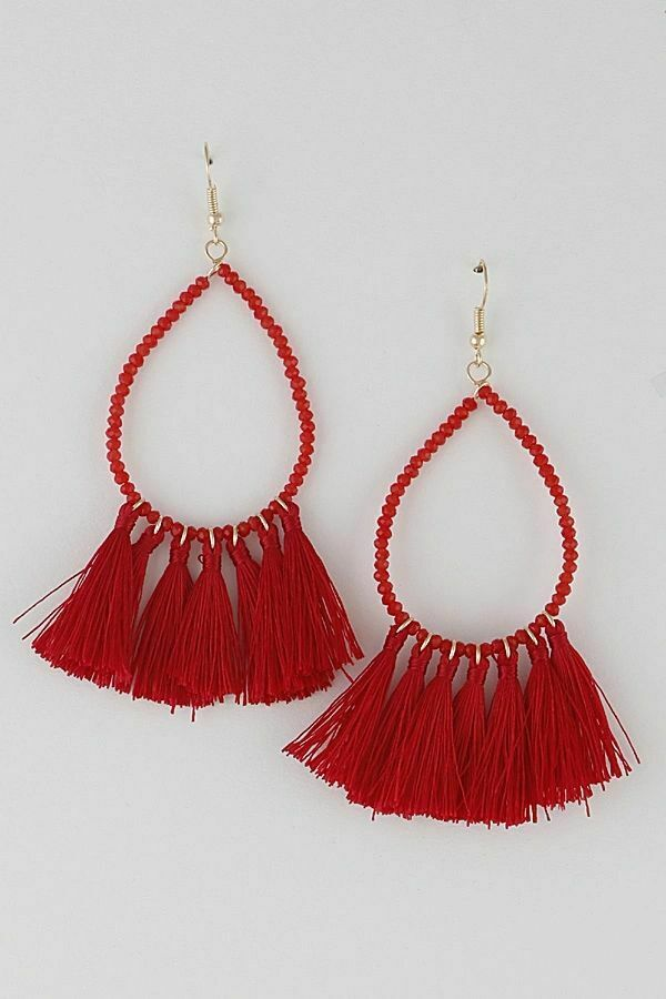 Beads and Tassel Earrings