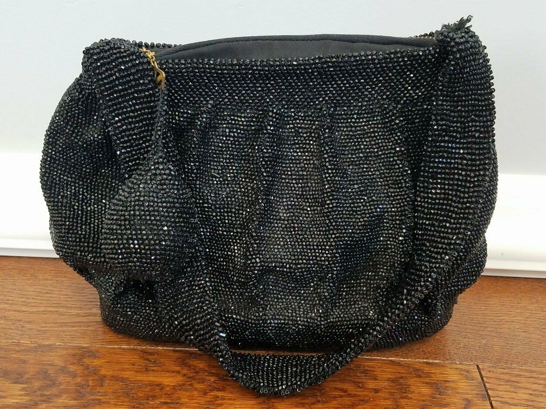 Vintage 1930s 1940s Black Beaded Handbag Purse Bag 1920s Flapper Yarn Corp