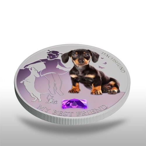 GEM STONE 1Oz Silver NEW Fiji 2013 Dogs /& Cats 2 My Best Friend DACHSHUND