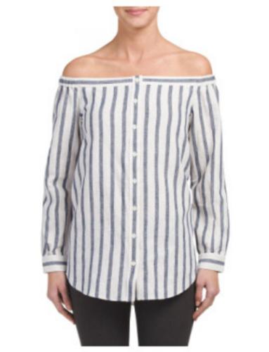 32d77ee4d2e23a  325NWT DEREK LAM 10 CROSBY Linen Striped Long Sleeve Off The Shoulder Shirt  sz2