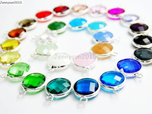 10Pcs Czech Colorful Crystal Channel Birthstone Pendant Charm Beads Silver Set