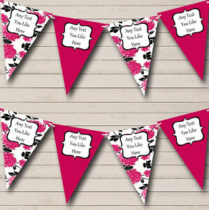 Hot Pink White Black Shabby Chic Personalised Birthday Party Bunting Banner