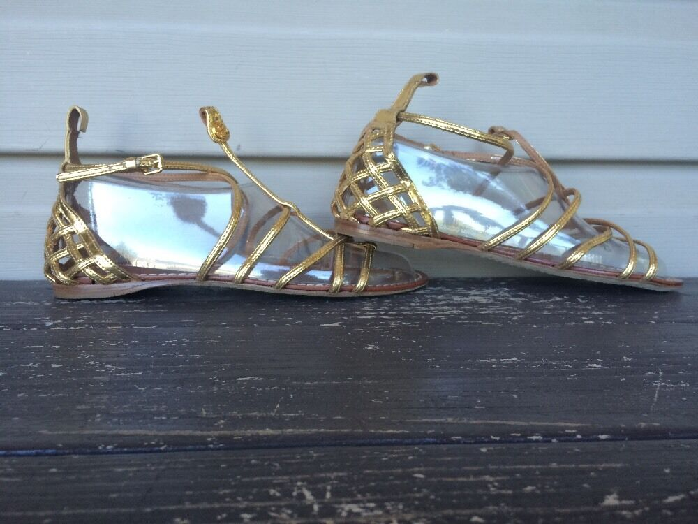 TORY BURCH BURCH BURCH donna BROOKE FLAT GLADIATOR SANDALS METALLIC oro SZ 6.5 NEW   295 5978cf