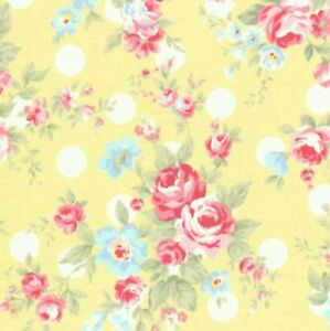 Cottage-Shabby-Chic-Lecien-Princess-Rose-Floral-31265L-50-Yellow-w-Dots-BTY