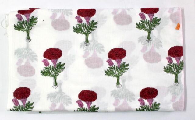 Hand Block Print 100% Cotton Fabric Indian Natural Vegetable Color Dabu Print