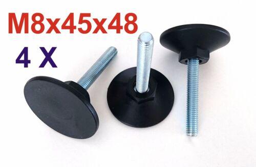 -SW 17 Verstellfuß Möbelfuß Stellschraube Stellteller Stellfuß 4x M8x45x48