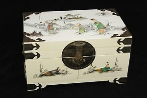Japanese Asian Pearl Inlay White Lacquer Geisha Jewelry Box Brass 2 Drawer Vtg