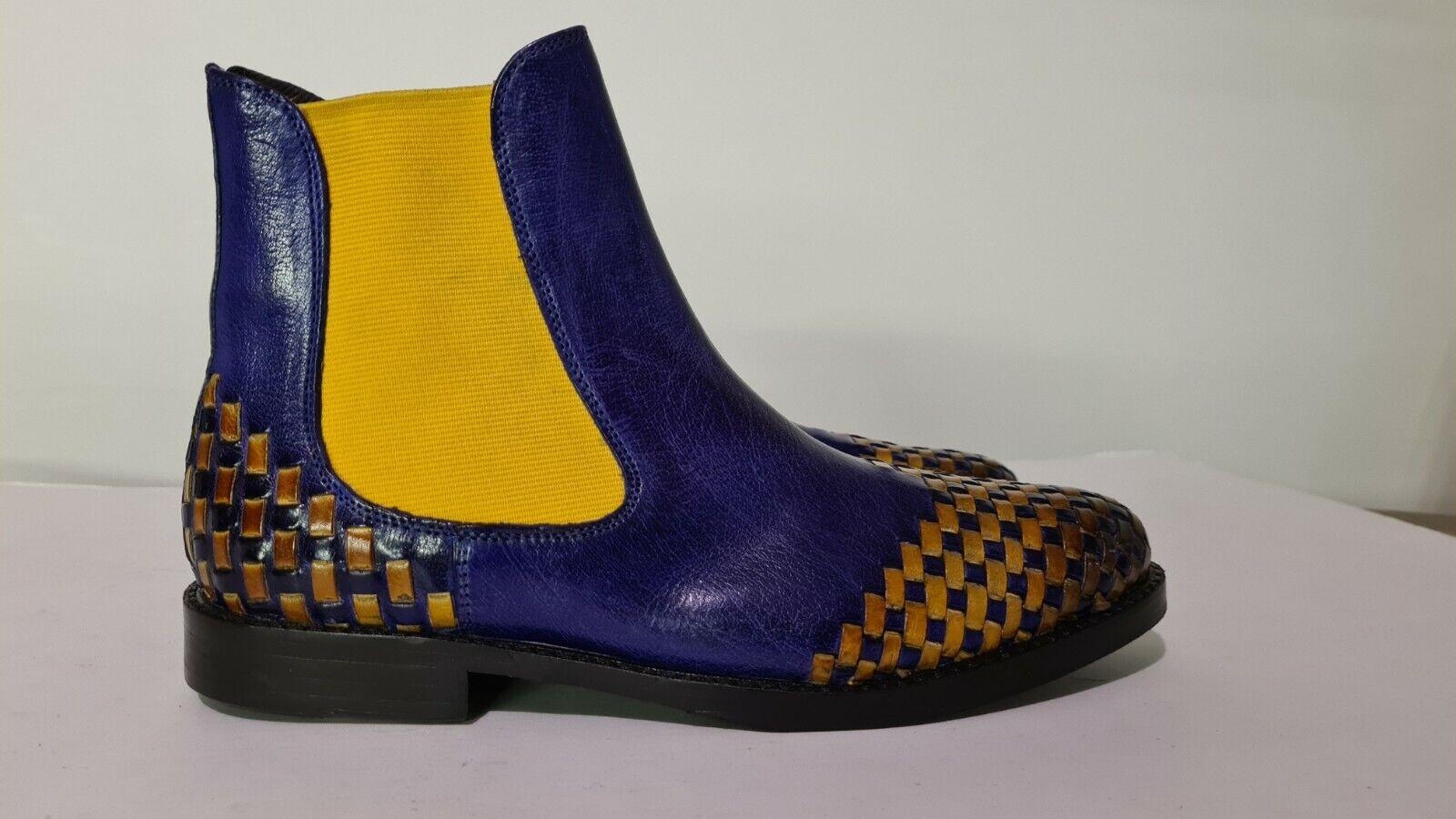 ! novedad! melvin & Hamilton sueño azul + amarillo cuero genuino botines, talla 37, np 170 EUR