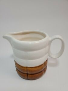"""White Brown Drip Glaze Style Syrup Pitcher Creamer Pottery Pour Cup 4"""" Tall"""