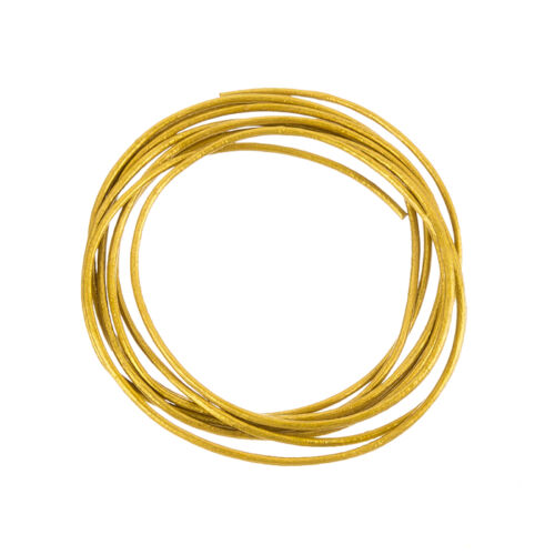 Antique Gold A76//1 - 1m Length Round 1mm Leather Cord Shiny Finish