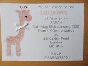 15 x personalised handmade giraffe baby shower invitations a6 ebay image is loading 15 x personalised handmade giraffe baby shower invitations filmwisefo