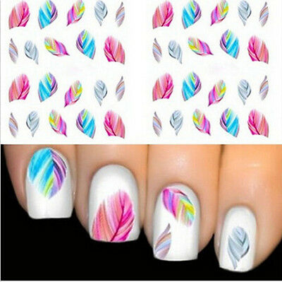 Colorful New Design Water Transfer Nail Sticker Tip Beautiful Feather Nail Art