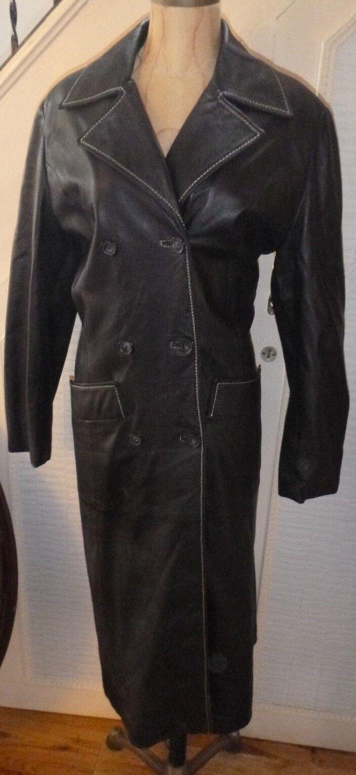 Linea Classic Ladies Long Leather coat full length - Large - new