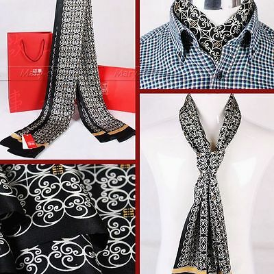 Gifts/_Mens 100/% Silk Long Scarf//Cravat Scarives Double Layer Black
