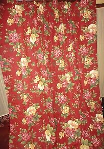 Waverly Floral Manor Bouquet Red Floral Amp Gold Pair