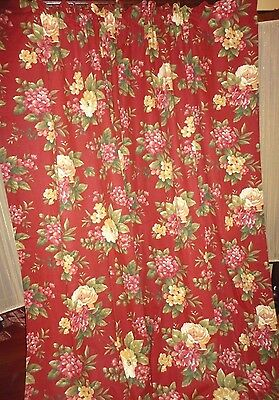 WAVERLY FLORAL MANOR BOUQUET RED FLORAL & GOLD (PAIR) PANELS TIEBACKS 41X81 NEW