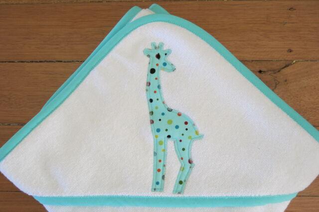 Handmade hooded baby towel with cute mint green giraffe applique