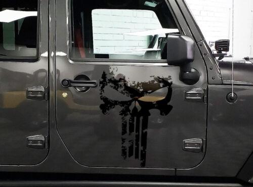 pair of PUNISHER skull Distressed Door side vinyl decal sticker for Wrangler JL