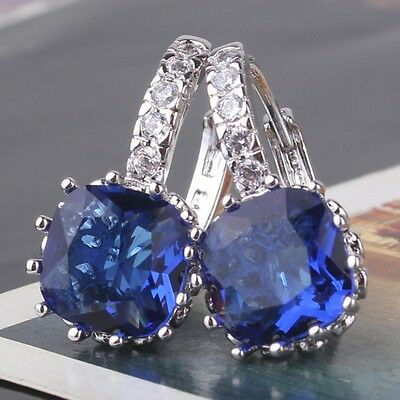 Twinkling sapphire Attractive leverback 18K white gold filled PARTY earring