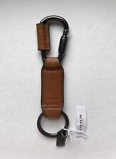 Authentic Coach Men's Saddle Leather  Carabiner Key Chain Fob 63966 NEW