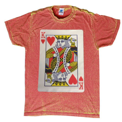 KING OF HEART T-SHIRT ACID-WASH GREAT QUALITY ASSORTED POKER COLORS SIZES S-3XL
