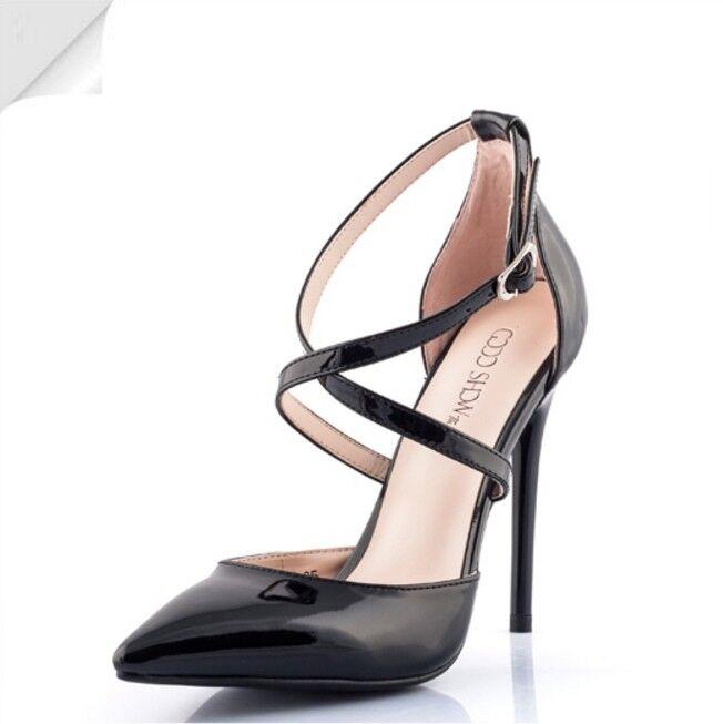 12CM 4.68'' Correa De Cruz De De De Mujer Tacones Altos Fiesta Zapatos Stiletto Hebilla Puntera En Punta  grandes ofertas