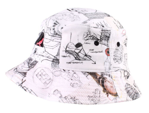 Staple New York NY Pigeon Sketch White 100/% Cotton Bucket 1504C2922 Hat NWT