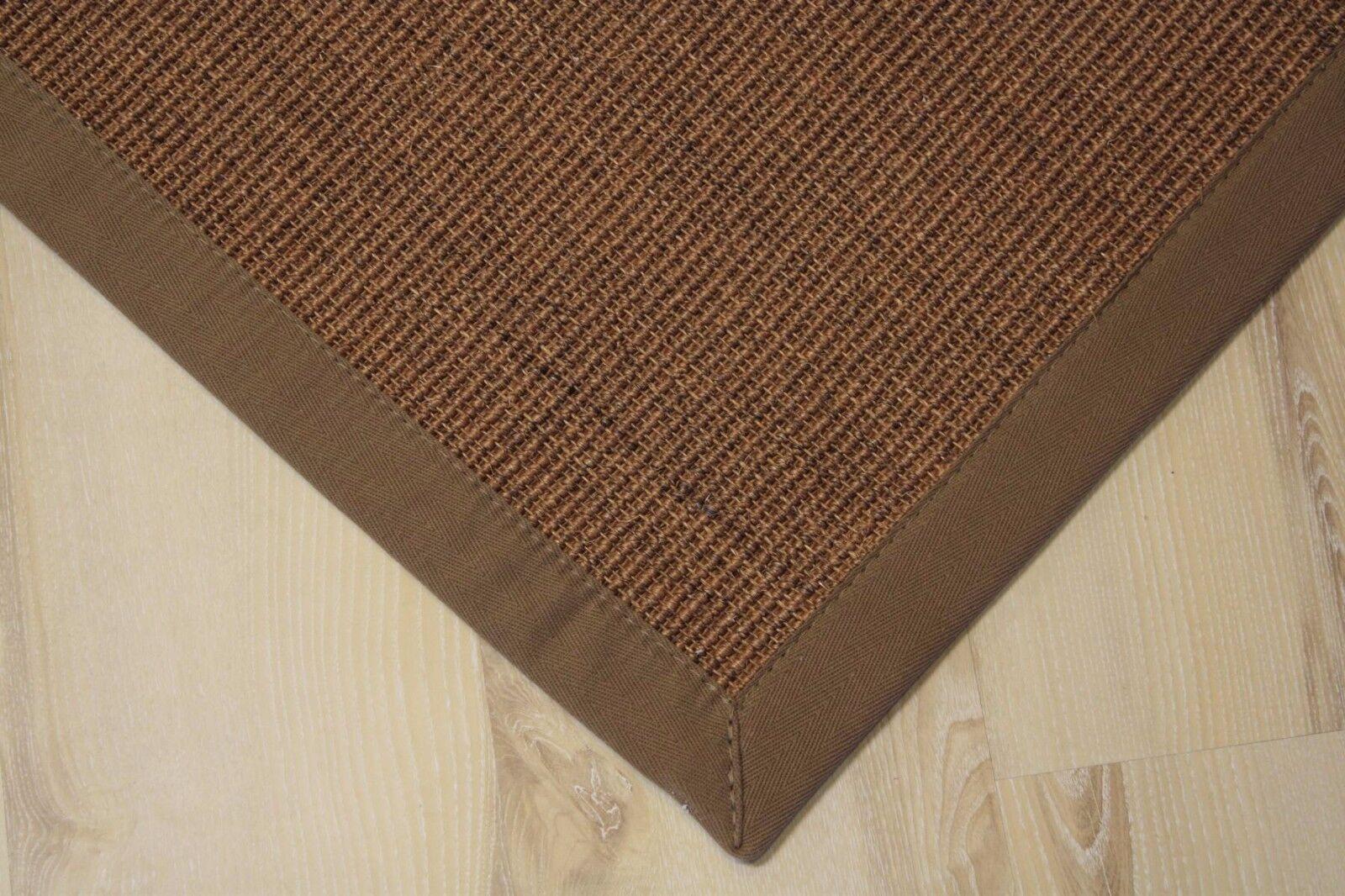 Tappeto in Sisal Manaus con Bordi Noce 65x140 cm 100% Agave