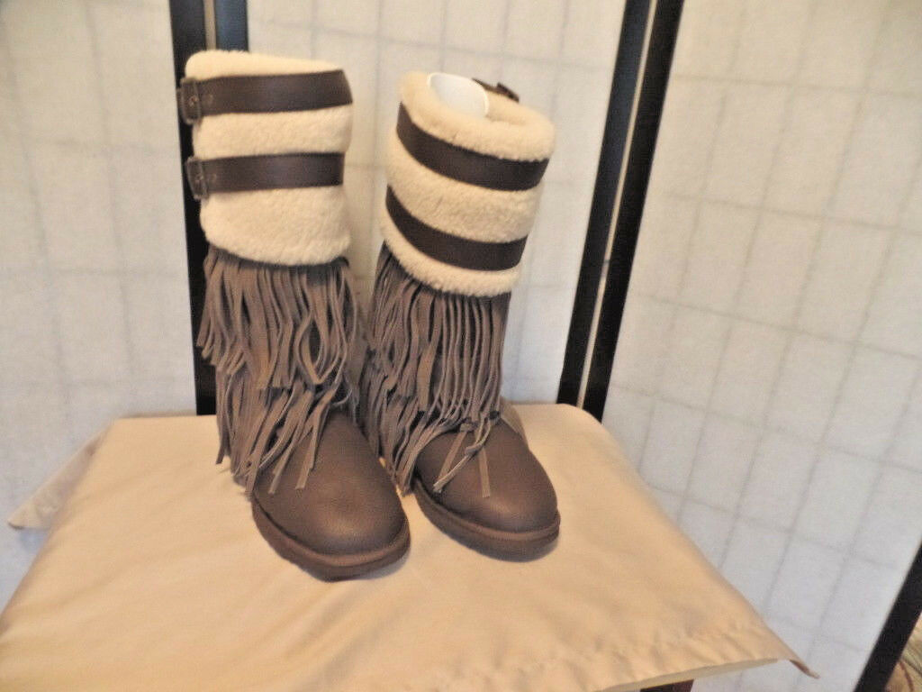 KOOLABURRA  PAYTON GORGEOUS AND VERY RARE BROWN TALL FRINGE BOOTS SZ 9 NWOB