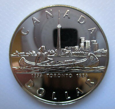 1984 Canada .500 Fine Uncirculated Silver Dollar $1 Toronto Sesquicentennial