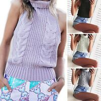 Women Backless Sleeveless Virgin Killer Pullover Cosplay Knit Sweater Turtleneck