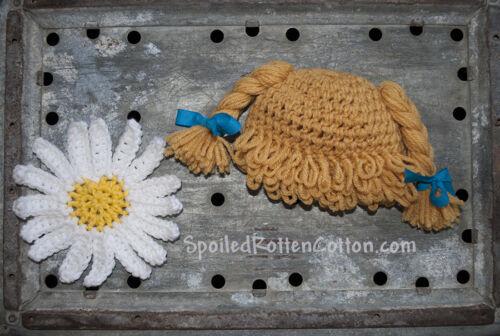 Cabbage Patch Kid Crochet Hat Wig  DK Blonde Braids Infant Toddler Adult CPK