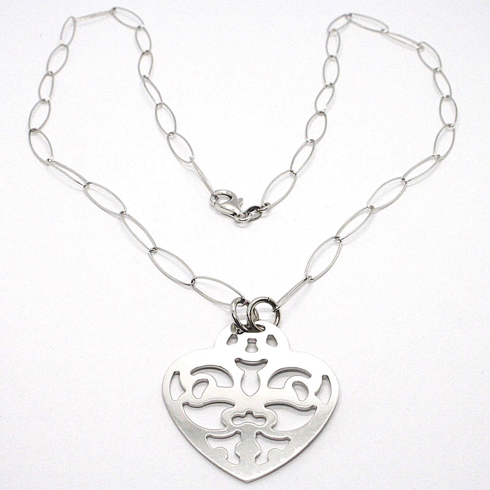 925 silver Halskette, Kette Oval, Herz Gerade Perforiert, Anhänger