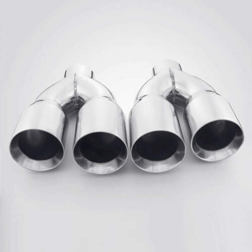"""Stainless Exhaust Tailpipe Tips 3/"""" Inlet Quad 4/"""" Out Staggered Straight Cut"""