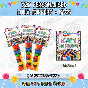 Details About X20 Personalised Dc Superhero Girls Lolly Toppers Bags Birthday Parties