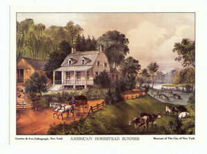 CURRIER & IVES Lithograph Cards -Set of 4 - American Homestead Four Seasons 5x7