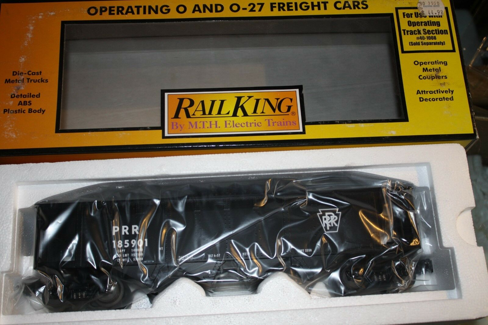 MTH O Gauge hopper car W operating coal PRR NIB car