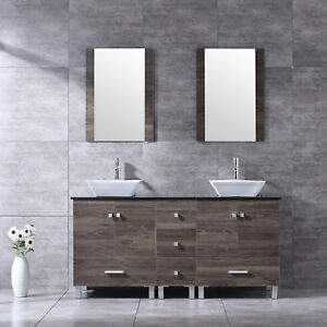 Details About 60 Bathroom Double Vanity Wood Cabinet White Ceramic Sink Combo W Mirror Modern