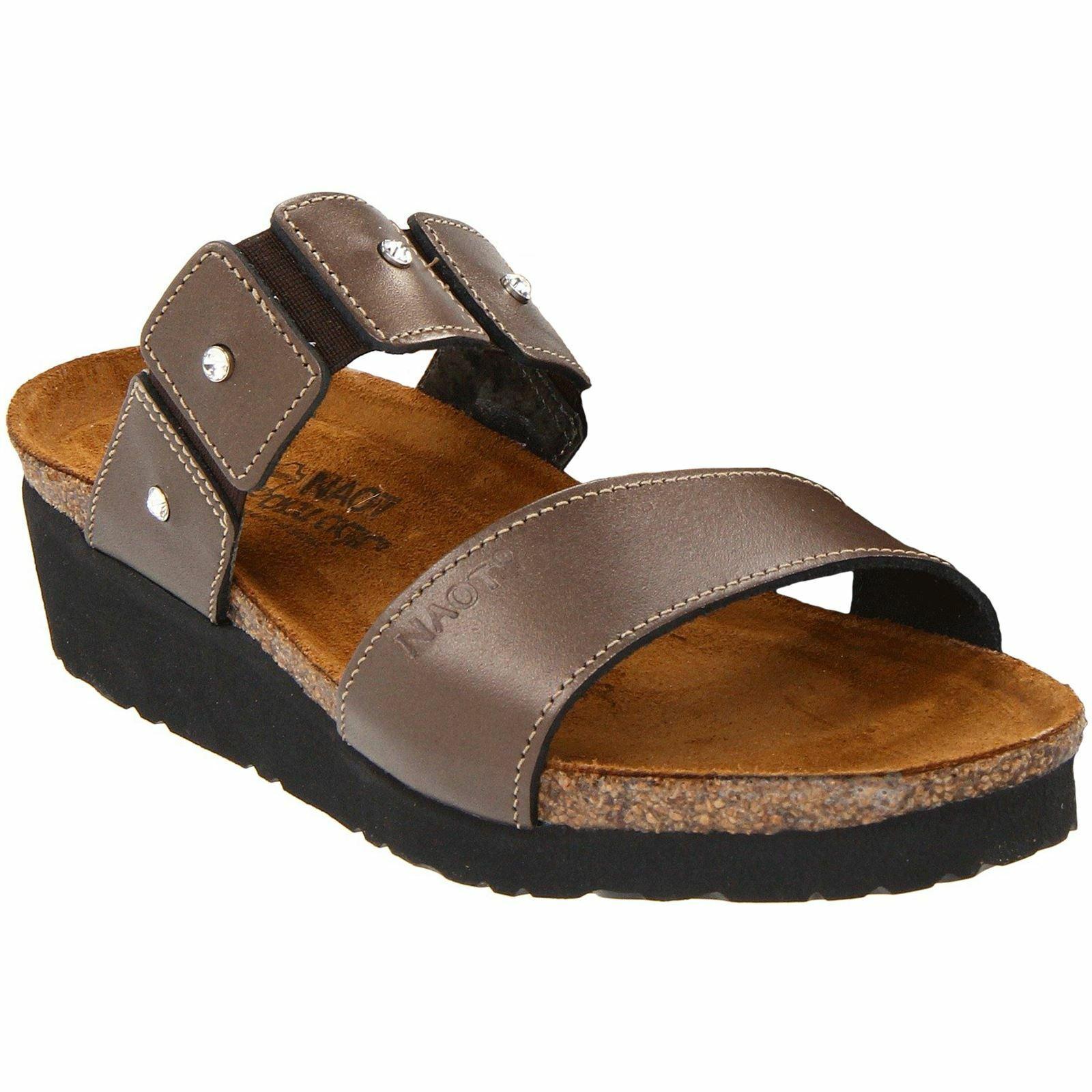 Naot Ashley Copper Womens Leather Slip-On Wedge Open-Back Slide Sandals