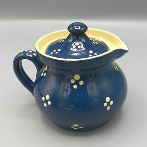 Alsace-French-Country-Soufflenheim-Milk-Pot-Pitcher-Blue-Cream-Points-Vintage