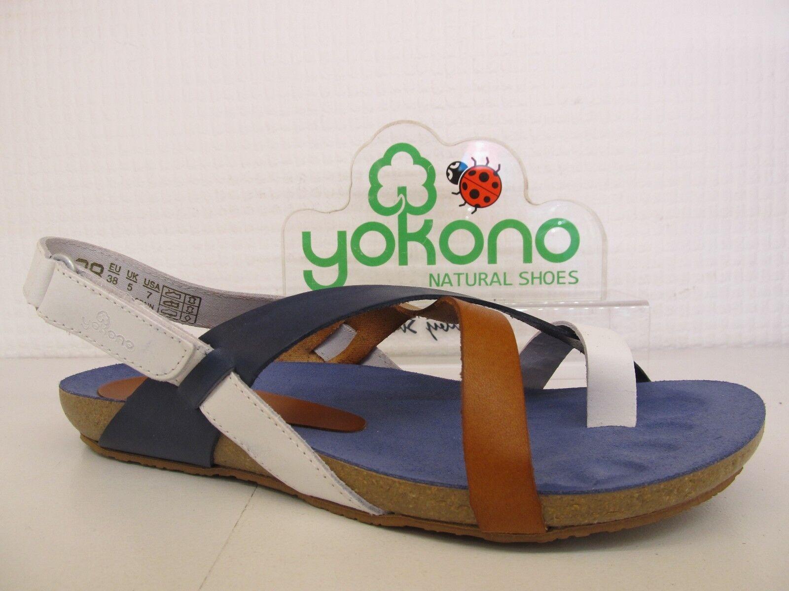 YOKONO IBIZA 718 vaquetilla Multi Tan Cinturino in Scarpa Pelle Bianco Blu Sandalo Scarpa in e1bdc4