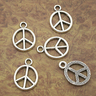 80pcs Tibetan Silver peace sign charm pendants X0135